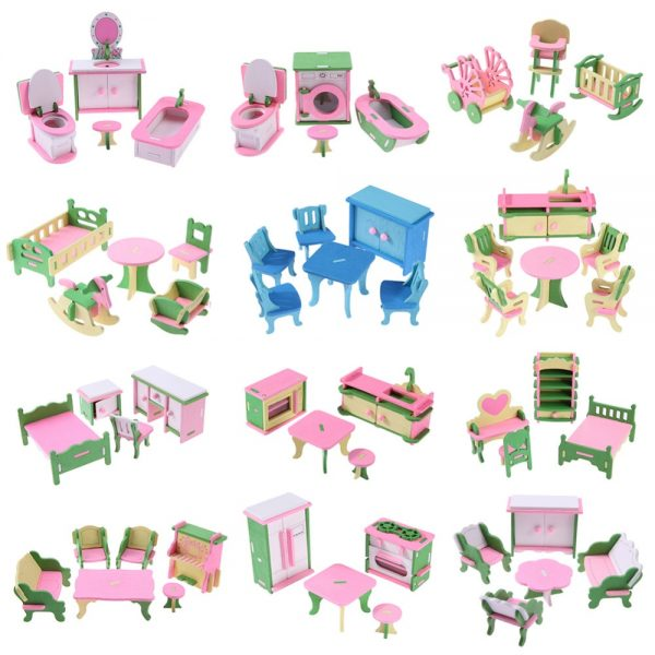 Wooden Dolls House Furniture Toys 4