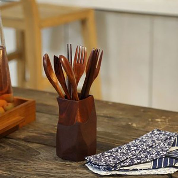 Wooden Fork and Spoon Set 4