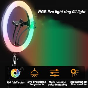 10 Inch RGB Colorful USB LED Ring Light Rainbow Fill light with Phone Clip 160cm Stand for Live Broadcast Photo