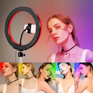 10 Inch RGB Music Follow Tripod Ring Light with Phone Holder for Photography Selfie for YouTube Vlogger Makeup Artist