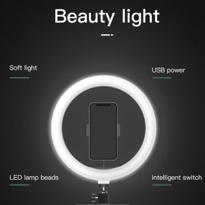 10 Inch Selfie Ring Light With Tripod Stand Dimmable Camera Phone Holder 26CM Ring Lamp for Youtube Vlog Live Streaming