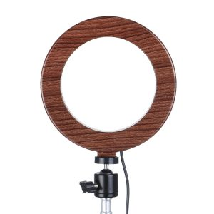 10 inch LED Ring Light Fill Light For Makeup Streaming Selfie Beauty Photography B Makeup Mirror Light-Dark Wood Color