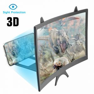 12 inch HD 3D Curved Screen Magnifier Foldable Movie Video Screen Amplifier Lazy Desktop Mounts for all Cell Phone below 6.5 inch Screen
