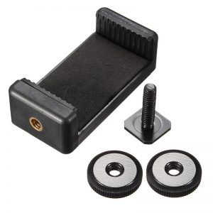 1/4 inch Phone Clip Holder with Flash Hot Shoe Screw Adapter Tripod Mount for Camera