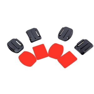2 Flat and 2 Curved Adhesive Mount With Adhesive Pads For Gopro Yi SJ4000 Sport Camera