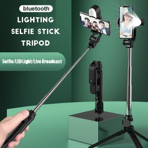 2 In 1 Selfie Sticks Tripod Stand Adjustable Remote Extendable Desktop Stand Holder LED Light bluetooth Selfie Stick for iPhone Huawei