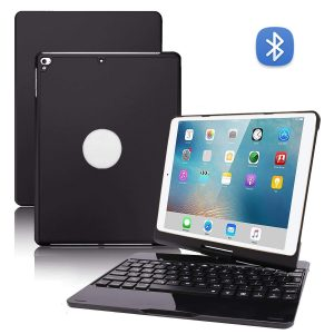 2 in 1 Multi-functional 78 Keys 450mAh 360 Degree Rotation Wireless bluetooth with 7-Color Backlight Aluminium Alloy Laptop Keyboard Protective Case for iPad 10.2 / 10.5 inch