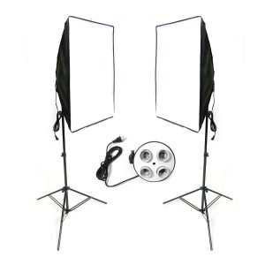 2x Studio Photography Video Softbox Light Stand Continuous Lighting Kit 50x70cm