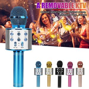 858 Wirelss bluetooth Microphone DSP Noise Reduction Karaoke Mic Recorder HIFI Stereo Speaker Portable Handheld Singing Player for KTV Party