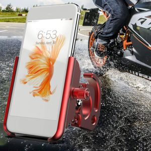 Aluminum Alloy Bike Motorcycle Phone Holder 360 Degree Rotation For 4.0 Inch - 6.4 Inch Smart Phone