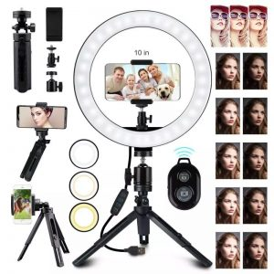 Bakeey 10inch Photography LED Light Ring Light Tripod Stand Holder blutooth Remote USB Plug Adjustable Dimmable Makeup Fill Light For Live Stream Selfie Makeup Video Live