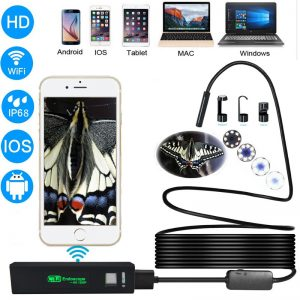 Bakeey 1200P 8mm Lens WIFI Endoscopes IOS Android Phone Hard Snake Inspection Camera