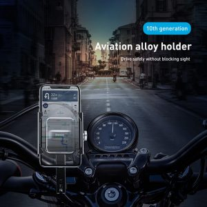 Baseus Aviation Alloy Bicycle Motorcycle Scooter Handlebar Rear View Mirror Phone Holder 360º Rotation For 4.7-6.5 Inches Smart Phone