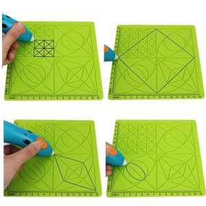 C-Type 3D Printing Pen Silicone Design Mat Drawing Tools with Basic Template + 2pcs Insulation Silicone Finger Caps