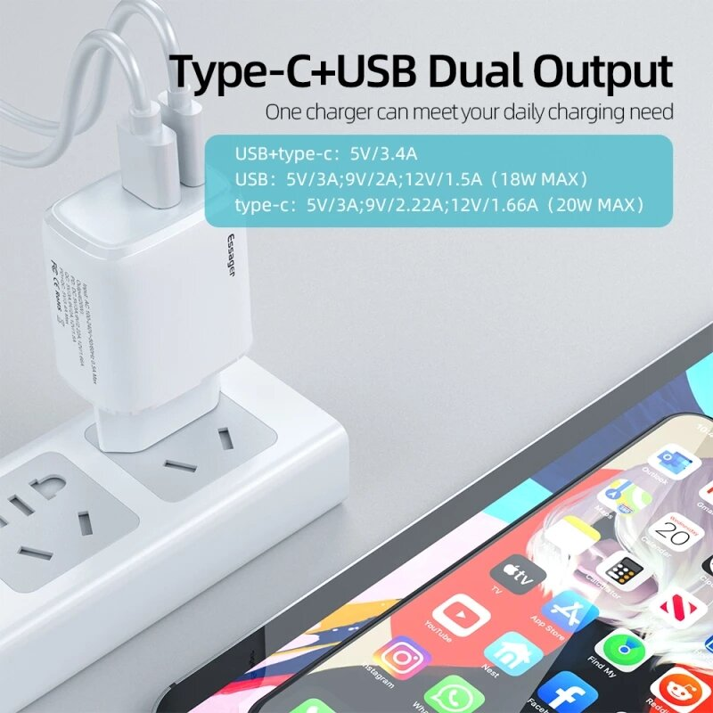 Essager PD 20W USBType C QC3.0 PD3.0 EUUS Plug Charger for iPhone 12 Mini 12 Pro Max for Samsung Galaxy Note S21 ultra Huawei Mate40 OnePlus 9 Pro 1