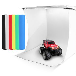 F49960 20cm 40 LED Lamp Beads 10-level Dimmable Portable Mini Shooting Tent Lightbox Softbox with 6 Colors Backdrop