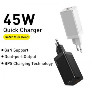 [GaN Tech] Baseus 45W USB-C Wall Charger 2-Port PD3.0 QC3.0 SCP Quick Charge Adapter With EU Plug + 60W USB-C to USB-C Fast Charging Cable