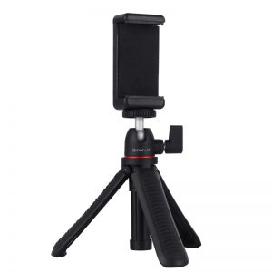 PULUZ PKT3083B Selfie Sticks Tripod Mount + Phone Clamp with Tripod Adapter and Long Screw
