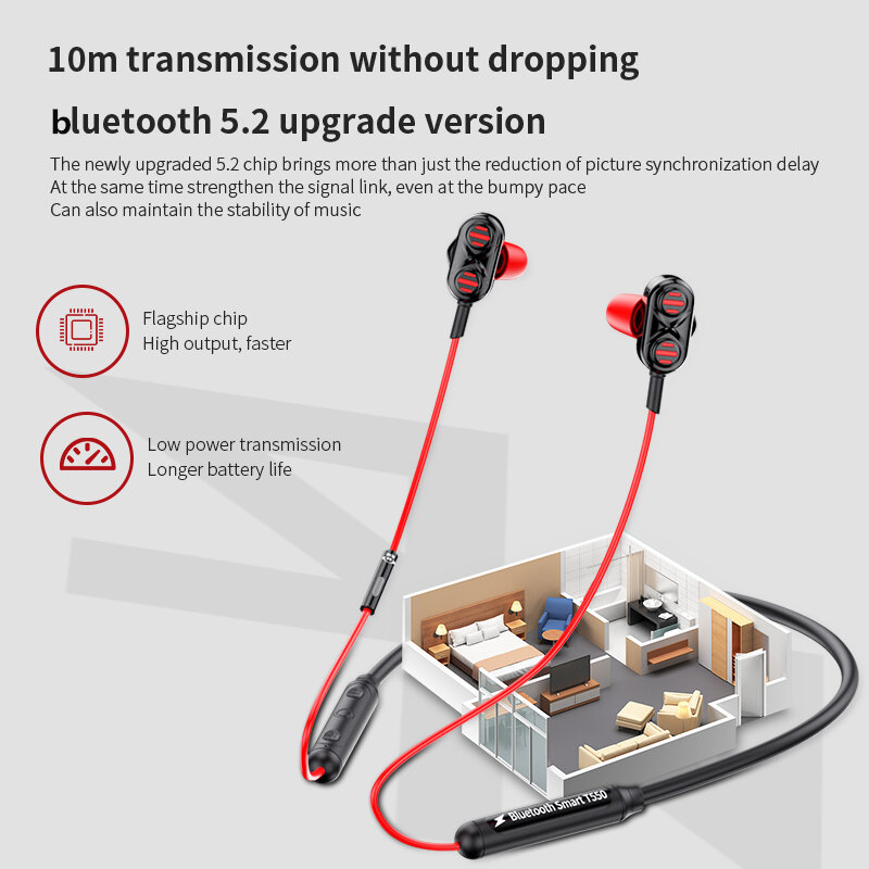 T550 Neck-mounted K Song bluetooth 5.0 Headset Wired Stereo Bass Headphones Waterproof Earphoens with Mic