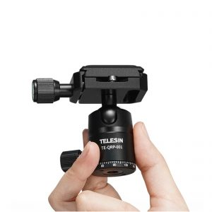 TELESIN Tripod Ball Head Gimbal Damping 360 Degree Panoramic Center Design with Quick Release Plate for DSLR Camera Monopod Photography Studio