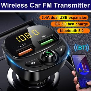 [with Display] QC3.0 PD Fast Charging Dual USB bluetooth V5.0 Noise Reduction Wireless Car FM Transmitter Player Support U Disk / TF Card Plug and Play