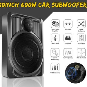 10inch Car Subwoofer Speaker 600W 12V 360° Stereo Super Bass Active Subwoofer Ultra-thin Body Under Seat Power Amplifier