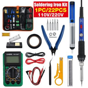 110V 60W 22Pcs Electric Adjustable Temperature Soldering Iron Kit Welding Tool With Multimeter