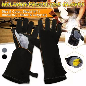 16 Inches Two Layer Cow Leather Lengthened Black Grey Welding / Barbecue High Temperature Resistant Labor Protection Gloves