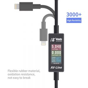 18kinds AV-Line USB Charging Current and Voltage Tester Mobile Phone Current Fast Charging Data Cable for iPhone Android