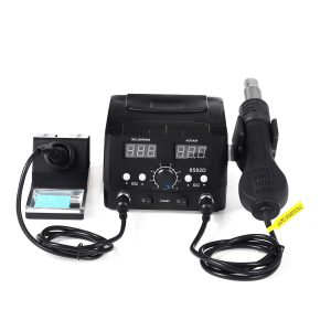 2-in-1 S858D Soldering Rework Station Iron Desoldering Hot Air Tool with 3 Nozzles
