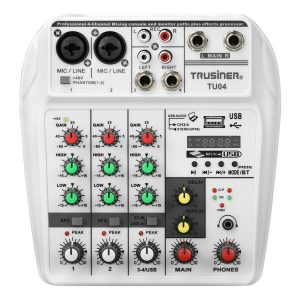 6W Portable bluetooth Sound Card 4 Channel Mixing Console Home Mini USB Mixer with UK US Plug