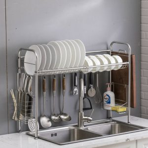 95x62x25.5cm 2 Tiers Over The Sink Dish Drying Rack Shelf Stainless Kitchen Cutlery Holder