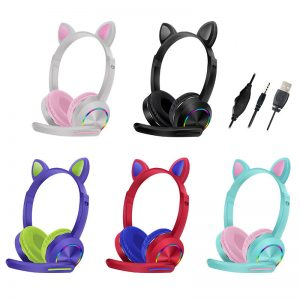 AKZ-020 Wired Headphones Stereo Super Bass 40MM Drivers Earphone RGB Luminous Foldable Head-Mounted Cute Cat Ear Gaming Headset Review Education Machine with Mic
