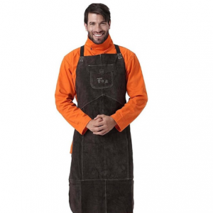 AP-6100 Charcoal Brown Full Leather Breast Protector Apron Welding Apron Series
