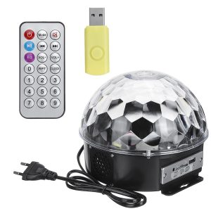 Portable Remote Control RGB Color Change Voice Control LED Disco Light Support U Disk Playback
