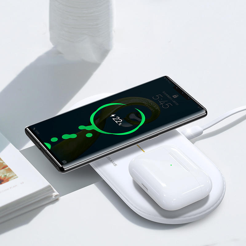 USAMS US CD120 Dual 10W Power Qi Wireless Charger Phone Charger Earphone Charger for Qi enable Smart Phone Earphone for iPhone 11 Apple AirPods Pro 2019 1