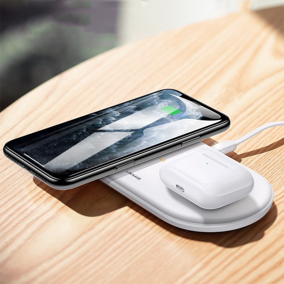 USAMS US-CD120 Dual 10W Power Qi Wireless Charger Phone Charger Earphone Charger for Qi-enable Smart Phone Earphone for iPhone 11 Apple AirPods Pro 2019