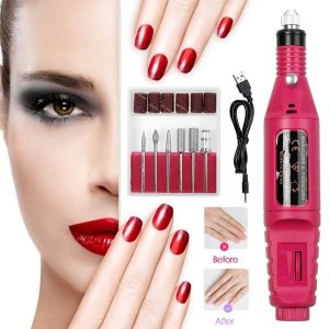 0-20000RPM 6 Color USB Charging Electric Nail Grinder Drill Portable Manicure Pedicure Nail Machine with 6 Grinding Heads