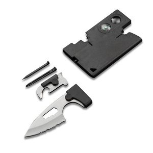 10-In-1 Multi Credit Card Serrated Companion Tools With Compass Magnifying Screwdriver Tweezer