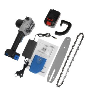 10 Inch Cordless Electric Chain Saw One-Hand Saw Woodworking Wood Cutter W/ 1/2pcs Battery Also Adapted To Makita Battery