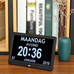 10.1 Inches High Definition Digital Large Non-Abbreviated Day Clock Date Time Display Table Alarm Clock