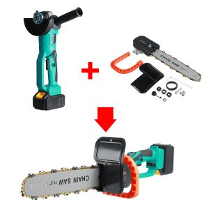 100/125mm Electric Angle Grinder Chainsaw Woodworking Cutting Chainsaw Bracket W/ 1/2pcs Battery
