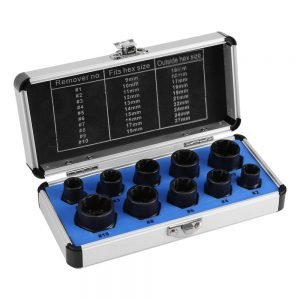 10Ppcs Damaged Bolt Nut Screw Remover Extractor Removal Set Nut Removal Socket Tool Threading Hand Tools Kit with Case