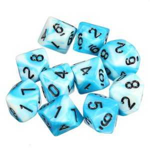 10pcs 10 Sided Dice D10 Polyhedral Dice RPG Role Playing Game Dices w/ bag