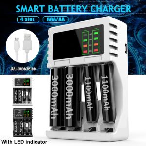 5V 1A 4 Slots USB Rechargeable Battery Charger Fast Charging For AA/AAA Battery