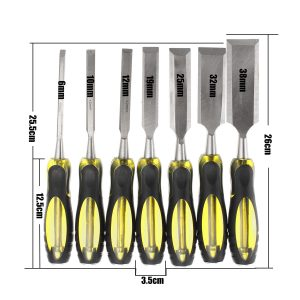 6-38mm 7pcs Woodworking Carving Chisels Wooden Handle Tool Set
